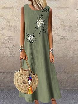 Plus Size Flower Print Casual Sleeveless Maxi Dress