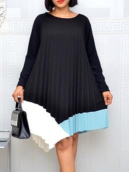 Color Block Pleated Irregular Hem Long Sleeve Dress