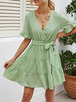Ruffle Hem Short Sleeve Green Wrap Dress