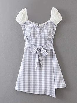 Summer Tie-Wrap Agaric Laces Plaid Short Dress