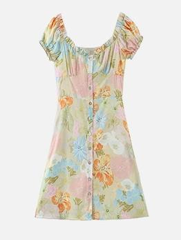 Single Breasted Flower Pattern Short Sleeve Dress