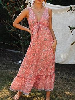 Bohemian V Neck Geometric Printed Maxi Dresses