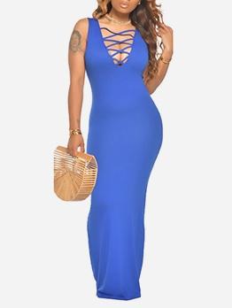 Sexy Deep V Neck Solid Sleeveless Floor Length Dress