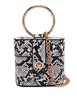 Twist Lock Snake Print Ring Handle Chain Mini Handbags