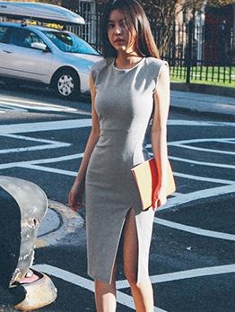 Split Hem Sleeveless Gray Bodycon Dress
