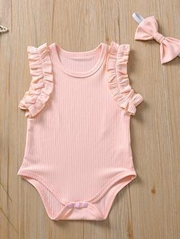 Stringy Selvedge Detail Solid Summer Newborn Romper