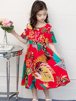 Fitted Cold Shoulder Summer Print Maxi Dress For Girls