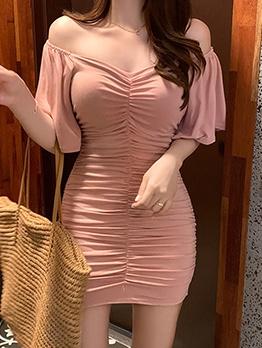 Off Shoulder Pleated Pink Short Dress For Women