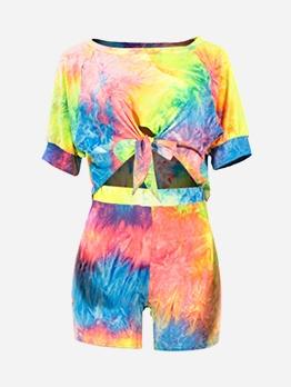 Rainbow Color Tie Dye Two Piece Shorts Set