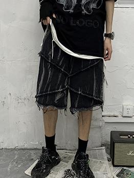 Fashion Ragged Loose Denim Half Pants