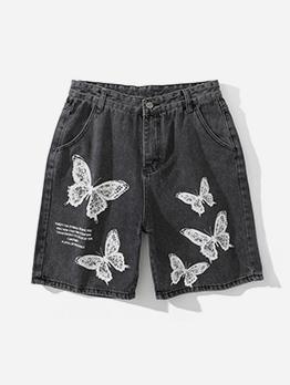 Trendy Butterfly Print Denim Short Pants For Men