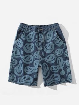 Smiley Face Printed Straight Denim Short Pants For Men