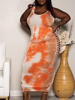 Side Hollow Out Tie Dye Plus Size Maxi Dress
