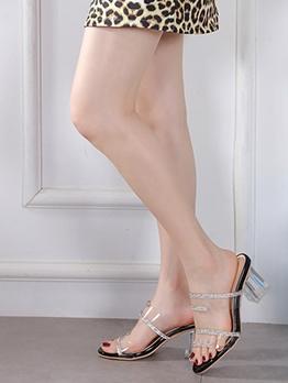 Rhinestone Clear Chunky Heel Summer Slippers