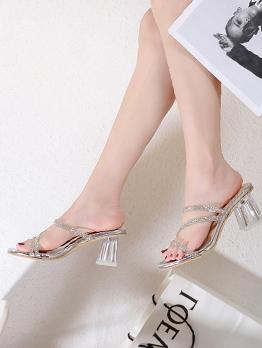 Rhinestone Decor Chunky Heels Womens Slippers