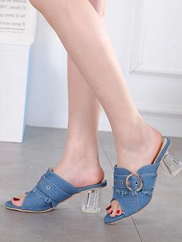 Denim Buckle Clear Heel Ladies Slippers