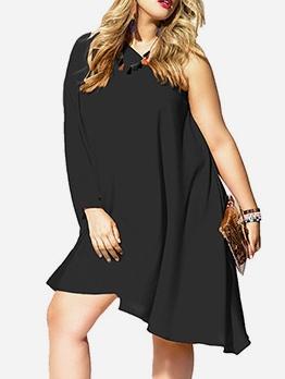 Inclined Shoulder Loose Plus Size Dresses