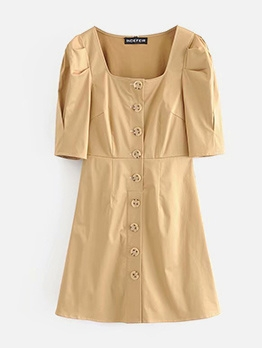 Vintage Square Neck Puff Sleeve Short Dress
