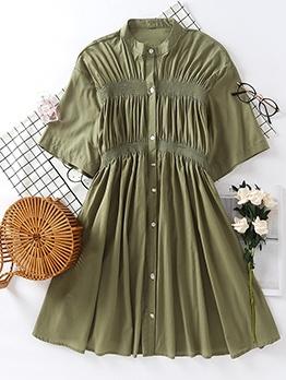 Single-Breasted Short Sleeve Green Short Dress