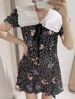 Doll Collar Print Short Sleeve Dress Vintage