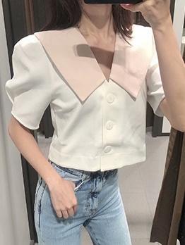 Color Block Dollar Collar Short Blouse For Ladies