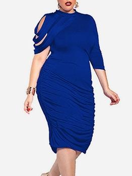 Irregular Sleeve Stacked Plus Size Dresses