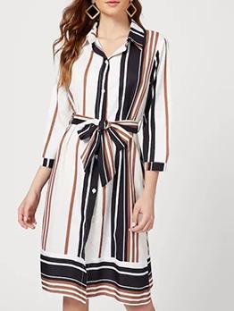 Fashion Button Up Striped Long Sleeve Dress