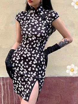 Mandarin Collar Floral Black Short Sleeve Bodycon Dress