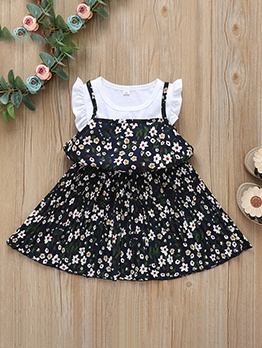 Patchwork Floral Pleated Casual Dress For Kids