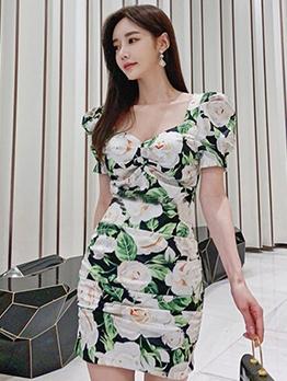 Graceful Flower Printed Short Sleeve Dress