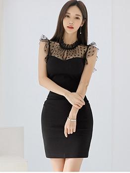 Gauze Panel Dots Ladies Bodycon Dress