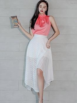 Elegant See Through Two Piece Skirt Set