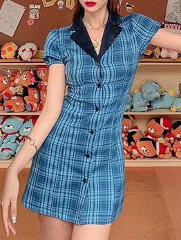 Puff Sleeve Blue Plaid A-Line Dress