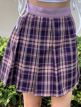 Preppy Style High Waist Purple Plaid Skirt