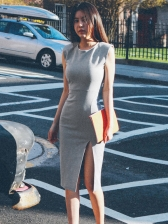 Split Hem Sleeveless Gray Bodycon Dress
