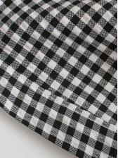 Sweetheart Print Puff Sleeve Plaid Short Dress