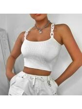 Chain Strap White Crop Camisole For Women