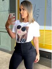 Figure Print Short Sleeve Ladies T Shirts