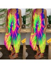 Casual Sleeveless Loose Tie Dye Jumpsuit