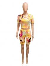 Short Sleeve Backless Tie Dye Two Piece Set