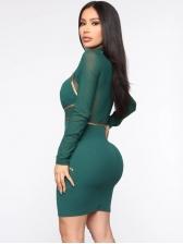 Gauze Patchwork Green Long Sleeve Bodycon Dress