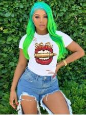 Fashion Lip Pattern Printed T Shirts For Women