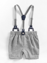 Little Boys Single Breasted Romper With Suspender Trousers