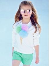 Plush Ball Ice Cream Sweatshirt With Solid Shorts
