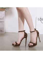 Leopard Chain Decor Heels Womens Sandals