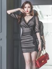 Seductive v Neck Ruched Bodycon Dress