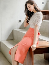 Lace Slit Bodycon Two Piece Summer Outfits
