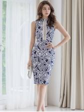 Geometric Printed Backless Sleeveless Bodycon Dress