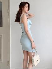 Sexy Single-Breasted Pocket Denim Ladies Dress