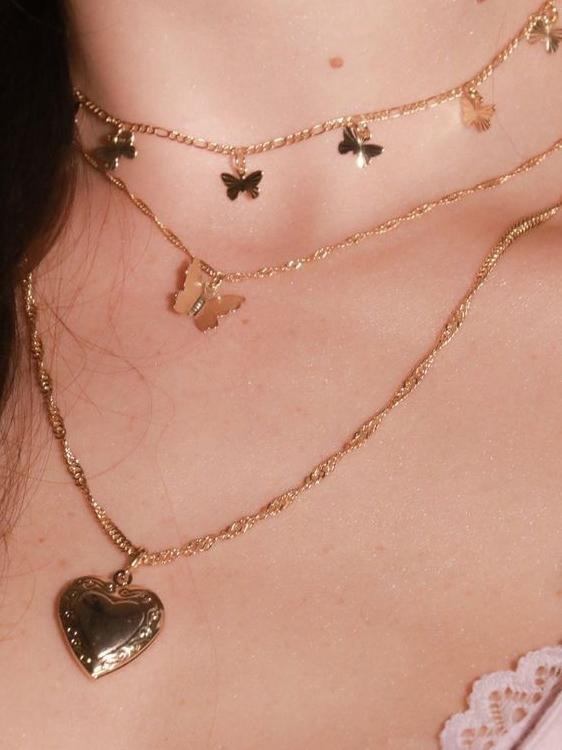 Heart Butterflies Multi Layered Women Chain Necklace